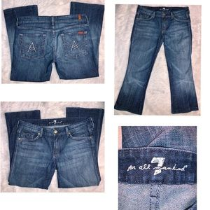 7FAM Distressed & Factory Faded Bootcut Jeans - 31